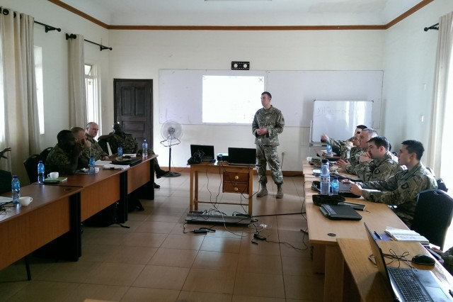 Maj. Jesse Pena, the deputy team chief for the 13th Expeditionary Sustainment Command (forward), briefs plans to support the African Readiness Training 2017 exercise during the initial planning event in Jinja, Uganda, Feb. 14, 2017. Africa Readiness Training 2017 is a bilateral exercise between Ugandan and U.S. forces scheduled to take place in July in Uganda. (U.S. Army Africa photo)