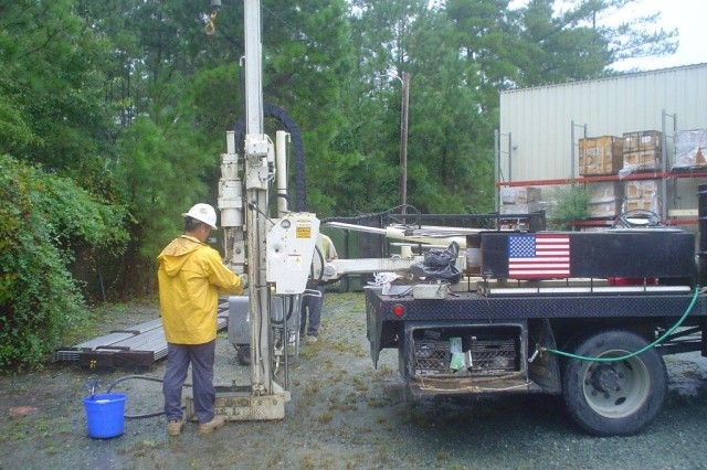 A geoprobe allows soil sampling prior to installing ground water monitoring wells.  Ground water monitoring is used to determine if contaminants are present and at what concentration.