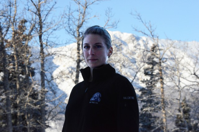 Sgt. Sarah Valentine, a medic and now an instructor at Northern Warfare Training Center, stands with the ever-present snow and mountains in the background. Valentine serves as an instructor during the Cold Weather Leaders Course, which is taught at the NWTC at Black Rapids, Alaska.  The entire course ran Feb. 2-16, 2017.