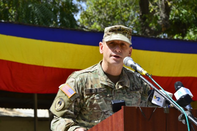 Brig. Gen. Donald C. Bolduc, commander of Special Operations Command Africa, speaks to the Chadian Army during the opening ceremony of Flintlock 17 Feb. 27, 2017. Flintlock is an annual special operations exercise involving more than 20 nation forces that strengthens security institutions, promotes multilateral sharing of information, and develops interoperability among partner nations in North West Africa.(U.S. Army photo by Richard Bumgardner)