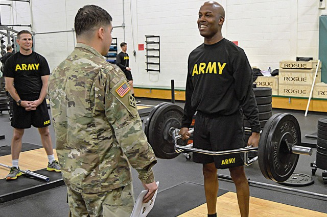 Command Sgt. Maj. Demetrius Brown, command sergeant major of the 4th Sustainment Brigade, 4th Infantry Division, performs a deadlift during a training event to familiarize senior enlisted leaders with the new OPAT. The event took place Feb. 15 at Waller Physical Fitness Center at Fort Carson, Colorado.