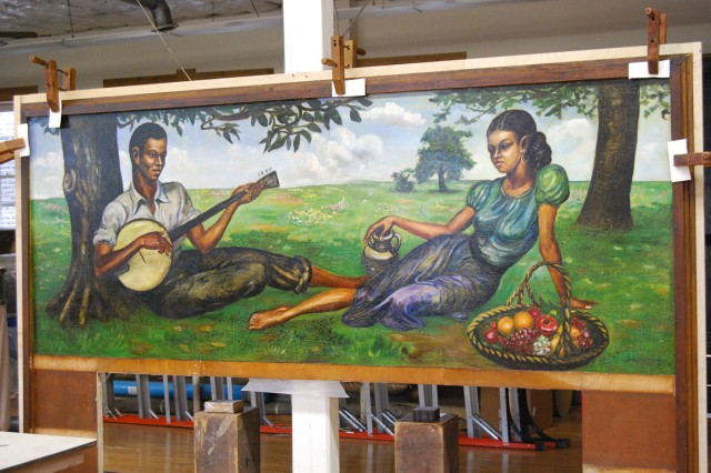The Staff Sgt. Samuel Countee mural returned to Fort Leonard Wood following nearly six months of renovation and conservation work. The painting is currently in storage awaiting display.