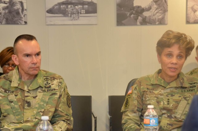 Lt. Gen. Nadja Y. West, the surgeon general of the U.S. Army and commanding general for the U.S. Army Medical Command (right), and Command Sgt. Maj. Gerald C. Ecker (left) and other key leaders discussed such topics as the Army Virtual Health program, the U.S. Army Medicine Campaign Plan 2017, access to care, and the hiring freeze during the two-hour session.