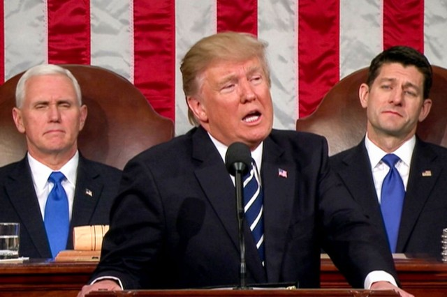 """President Donald J. Trump told a joint session of Congress Tuesday night that the United States will work with a coalition to """"extinguish"""" the Islamic State of Iraq and Syria from the planet."""