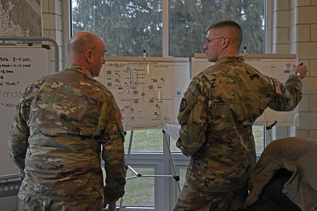 Master Sgt. Michael Bishop and Maj. Joseph Marty, 154th Cyber Protection Team, Fort Gordon, Ga., discuss network maps and means of defeating cyber intrusion during a live cyber exercise at Muscatatuck Urban Training Center in Butlerville, Ind., on January 10.