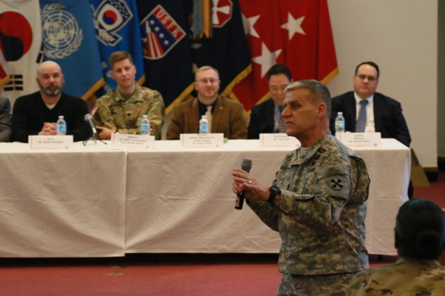 Eighth Army Senior Enlisted Advisor, Command Sgt. Maj. Richard E. Merritt speaks at a town hall event held on Feb. 23 2017.  The town hall was sponsored by 8th Army as a way to provide information on the transition from U.S. Army Garrison Yongsan to U.S. Army Garrison Humphreys.