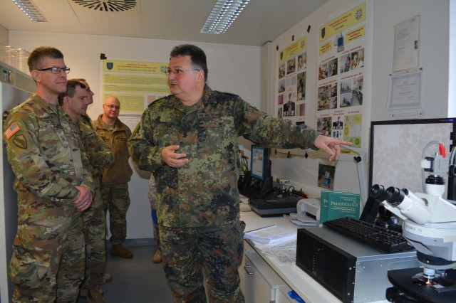 Public Health Command Europe staff visited their counterparts from the Bundeswehr Medical Services Headquarters in Koblenz, Germany March 1. The visit was an opportunity for the PHCE staff to learn about the Bundeswehr's organization and identify similarities and comparable functions.