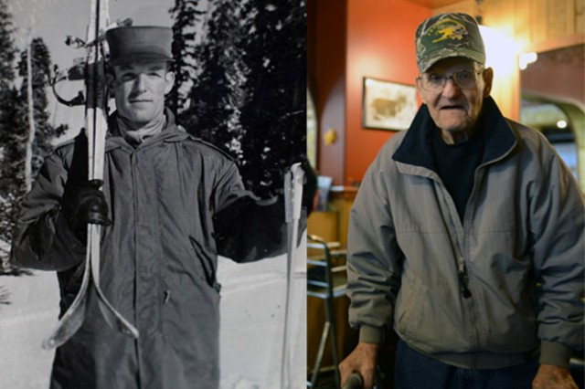 "(Left) Army Sgt. 1st Class Henry ""Hank"" Dube poses with his skis when he was stationed at Camp Hale, Colorado, in the 1950s. (Right) Dube arrives at Delta Junction's IGA for a cup of coffee and a chat with fellow veterans, Feb. 16, 2017."