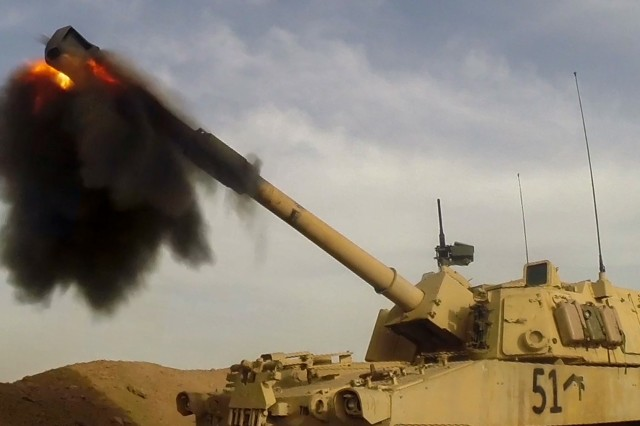 A U.S. Army M109A6 Paladin self-propelled howitzer from the 2nd Battalion, 82nd Field Artillery Regiment, 3rd Armored Brigade Combat Team, 1st Cavalry Division, fires near Hamam al-Alil, Iraq, Feb. 27, 2017. The strikes were conducted to support the Iraqi security forces' operation to liberate West Mosul from ISIS. A global Coalition of more than 60 regional and international nations has joined together to enable partner forces to defeat ISIS and restore stability and security. Combined Joint Task Force-Operation Inherent Resolve is the global Coalition to defeat ISIS in Iraq and Syria.