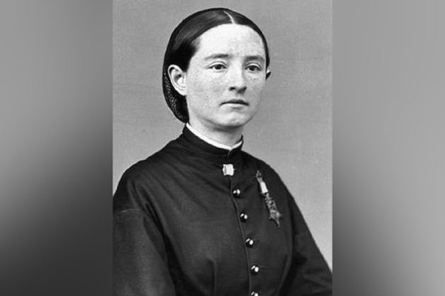 Dr. Mary Walker wearing her Medal of Honor