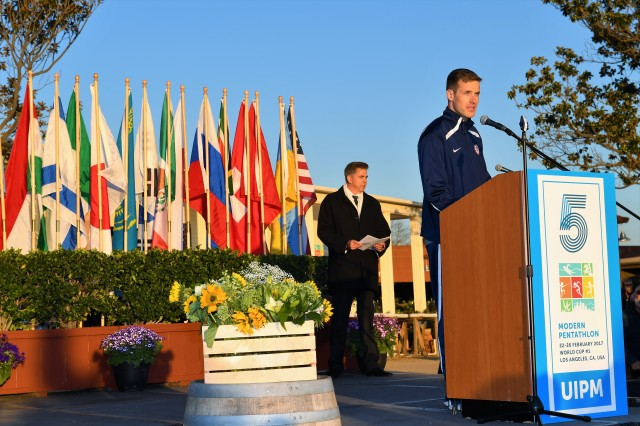 Army Olympic Modern Pentathlete Sgt. Nathan Schrimsher recites the athletes' oath during the opening ceremony of the Union Internationale de Pentathlon Moderne 2017 World Cup I on Feb. 23 at the Fairplex Farm in Pomona, California.