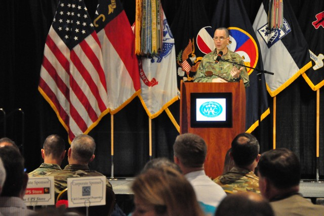 "Major General Leopoldo Quintas, Director, Operations, Plans and Training, U.S. Army Forces Command, addressed the crowd in attendance during the Military Affairs Committee breakfast hosted by the Fayetteville Chamber of Commerce. During the breakfast, city leaders heard updates from leaders across Fort Bragg. Quintas talked about the Forces Command priority to operationalize the Army Total Force policy. ""The Army National Guard and the Army Reserve are part of the team and they are a part of everything that we do,"" said Quintas. ""When it comes to meeting requirements,  I am component agnostic. When units are ready, they deploy to do the mission. It doesn't matter if you are in the Reserve Guard or regular Army.  Units are units, Soldiers are Soldiers, readiness is readiness, and we are all in this together."""