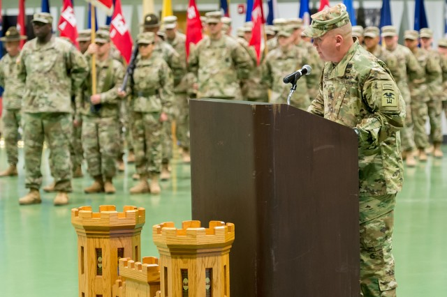 Command Sgt. Maj. Jerimiah Gan, a Crocker native, addresses the Soldiers in formation representing the various battalions within the 1st Engineer Brigade following his assumption of responsibility as the brigade command sergeant major, Friday.