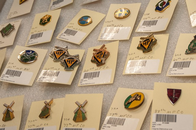 A drawer of military police insignia in the Military Police Museum archives.