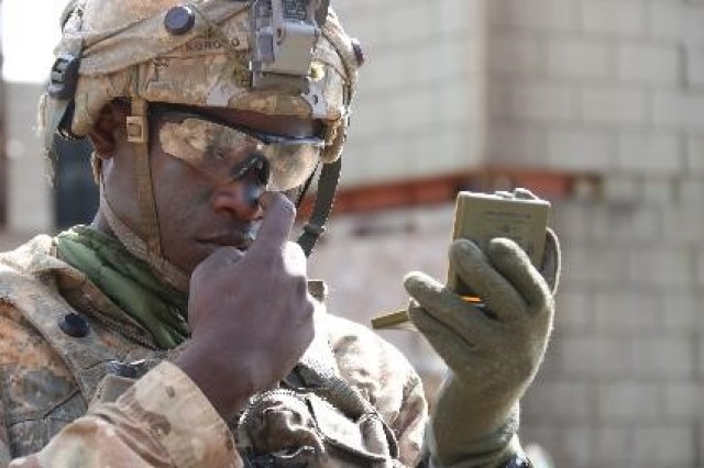 FORT POLK, Louisiana -- A Soldier assigned to 2nd Infantry Brigade Combat Team, 25th Infantry Division, applies camouflage face paint Feb. 20, 2017, during rotation 17-04 at the Joint Readiness Training Center in Fort Polk, Louisiana. (Photo courtesy by Joint Readiness Training Center, Operations Group, Public Affairs Office/Released)