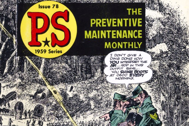 Will Eisner designed artwork, like this 1959 cover for PS Magazine, for 21 years.