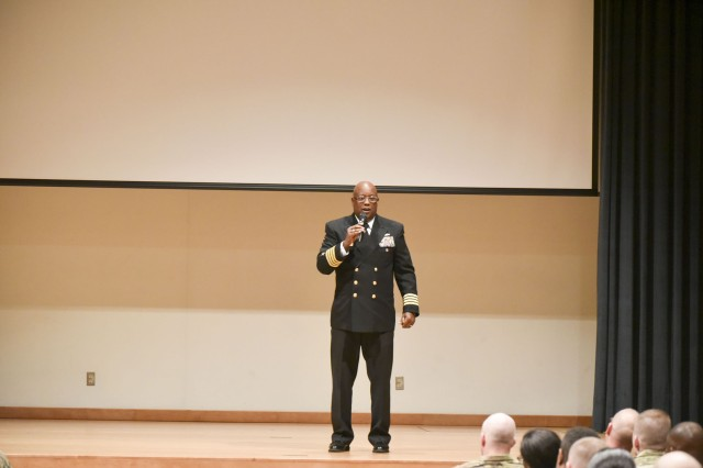 Capt. Glen S. Leverette Jr., Deputy to the U.S. Naval Forces Korea, gives his message about Black History Month at the Camp Carroll Community Activity Center on Feb. 28.