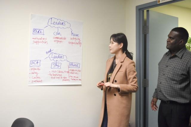 USAG Daegu Public Affairs Intern Ha, Si-On talks about her idea of leaders during the Emerging Leaders Cube.