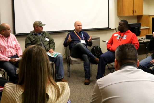 Chaplain Capt. David Morris speaks at an Applied Suicide Intervention Skills Training shop at the Lowery A. Woodall Advanced Technology Center in Hattiesburg, Miss., on Jan. 25, 2017. Morris was one of three chaplains to speak to the group. Morris has been teaching at the ASIST shop since he commissioned.
