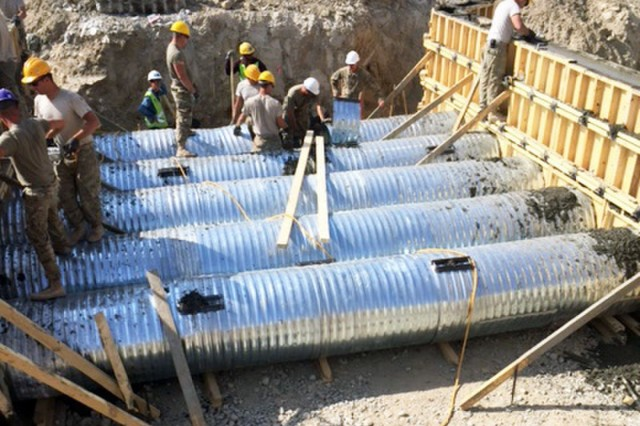 Deployed Army engineer units from across the force teamed up to completed a 14-week long culvert project at Bagram Air Field, Afghanistan during the month of November 2016. The Coyote Creek serves as the primary drainage point for an intricate system of water diversion trenches, retention ponds, and culvert systems in the south perimeter around and underneath the base. The units participating in this project include the 204th Engineer Detachment, 312th Engineer Company, 461st Engineer Company, 368th Engineer Battalion, and the 176th Engineer Brigade.