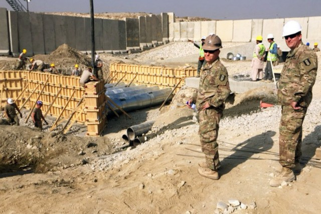 Leaders checkup on Soldiers as they work to complete the Coyote Creek Project, a 14-week long culvert project at Bagram Air Field, Afghanistan completed in November 2016.  The project addressed drainage issues in the south perimeter around and underneath the base. The units participating in this project include the 204th Engineer Detachment, 312th Engineer Company, 461st Engineer Company, 368th Engineer Battalion, and the 176th Engineer Brigade