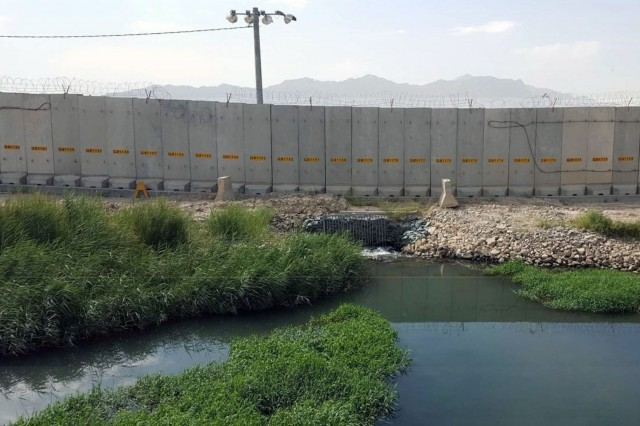 A view of Coyote Creek before the start of the 14-week culvert construction project began.  The construction was needed to address drainage issues in the south perimeter of Bagram Air Field, Afghanistan.  Army engineer units from across the force teamed up to complete the project during the month of November 2016.