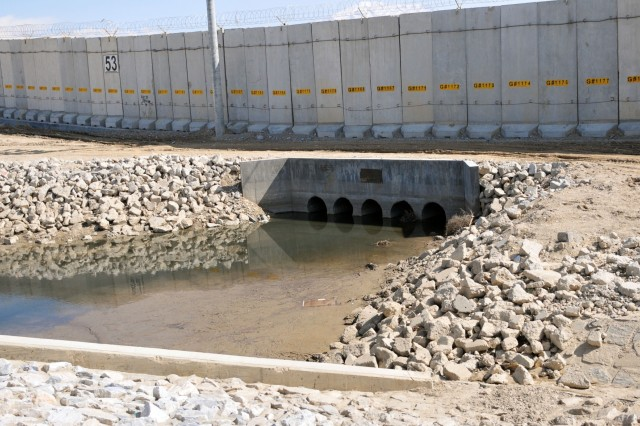 A recent after view of Coyote Creek after the November 2016 completion of the 14-week long culvert project constructed to address drainage issues in the south perimeter at Bagram Airfield, Afghanistan, March 2, 2017. The units participating in this project include the 204th Engineer Detachment, 312th Engineer Company, 461st Engineer Company, 368th Engineer Battalion, and the 176th Engineer Brigade.