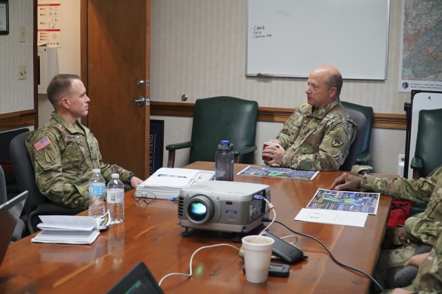 U.S. Army Maj. Gen. Robert E. Livingston, Jr., Adjutant General of South Carolina, talks with U.S. Army Col. Jeff Worthington, 2nd Signal Brigade commander, at the McCrady Training Center in Eastover, South Carolina, March 12, 2017, during an engagement between the 2nd Signal Brigade and the 228th Theater Tactical Signal Brigade (TTSB) to discuss sustainable readiness while the units look ahead to partner during future operations. The gathering was held during a scheduled training event for the 228th TTSB.