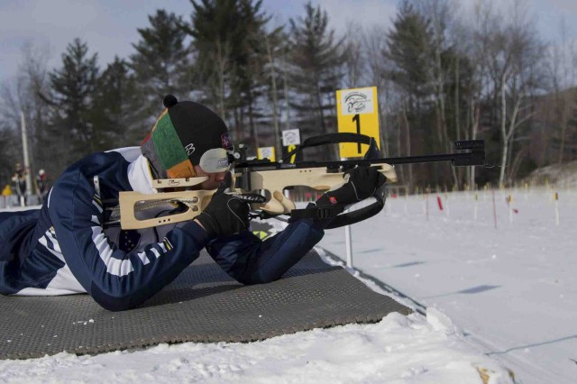Pvt. Everett Darrow zeros his weapons in preparation for the 2017 Chief National Guard Bureau Biathlon Championship held in Camp Ethan Allen Training Site, Jericho, Vt., March 4, 2017.  Approximately 120 athletes from 23 different states participated in the annual competition.