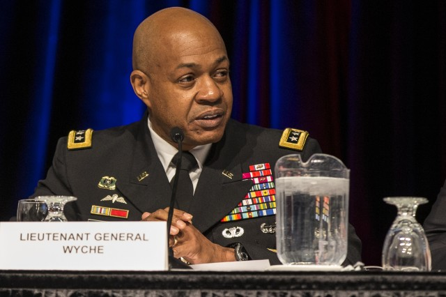 "Army Materiel Command Deputy Commanding General Lt. Gen. Larry D. Wyche chairs a panel during the Association of the U.S. Army's Global Force Symposium, March 14, on ""Partnering with Academia and Industry to Field Innovative Materiel Solutions."""