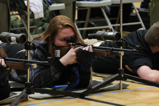 Brooke Farler, Jefferson County High School, Dandridge, Tennessee, lines up a shot during the marksmanship portion of  the Sgt. Maj. Paul C. Gray JROTC Memorial Invitational Drill, Marksmanship and Academic Championships held in Radcliff, Kentucky March 11-12.