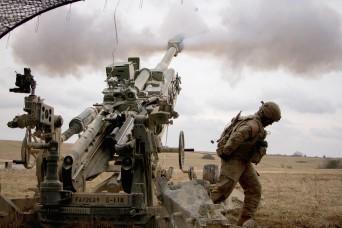 Artillery gun crews mass fire with NATO Allies