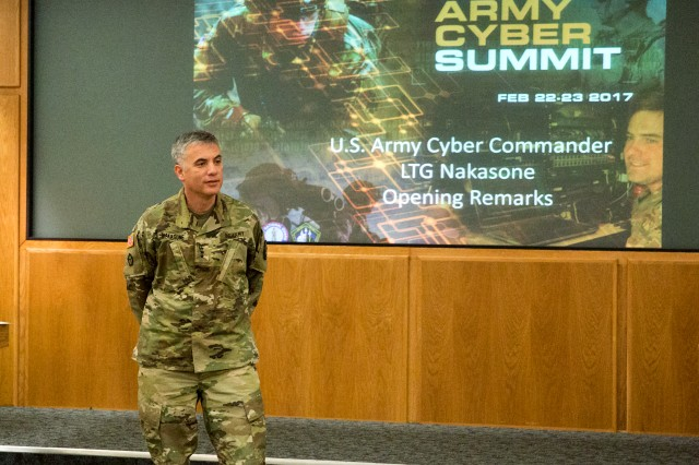 Lt. Gen. Paul Nakasone, commander of U.S. Army Cyber Command, listens to discussions among participants at the ARCYBER-led Total Army Cyber Summit, at Fort Belvoir, Va., Feb. 22. The two-day summit brought together leaders from the active Army, Army National Guard and Army Reserve to collaborate on innovative ways to build, man, train, equip and employ Guard and Reserve cyber forces.