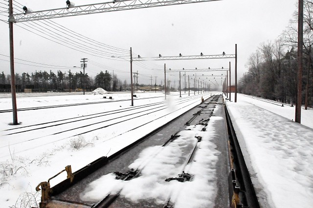 Keeping the 10 miles of railway clear of heavy snow is critical in keeping things coming and going at Fort Drum, New York. (Photo by Jon Micheal Connor, ASC Public Affairs)