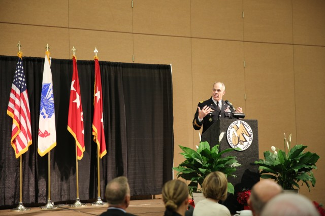 Gen. Gus Perna, Army Materiel Command's commander, closed out the 2017 AUSA Global Force Symposium sharing words of wisdom at the AUSA ROTC luncheon with cadets from more than ten local high schools and two universities, March 15.