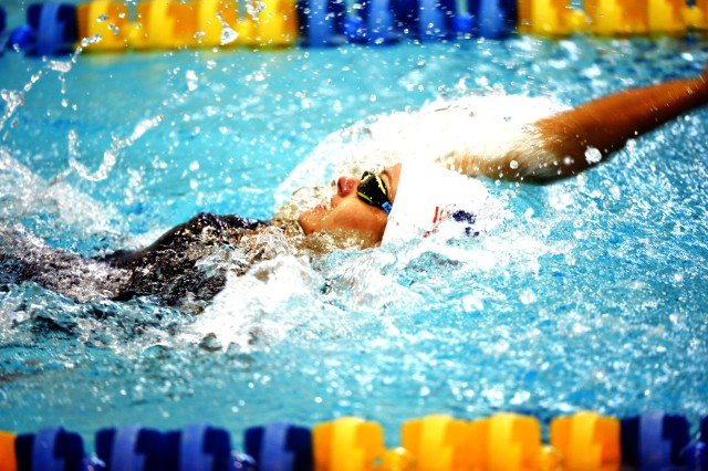 WCAP Sgt. Elizabeth Marks competes in the 100-meter backstroke preliminaries of the 2016 U.S. Paralympic Swimming Team Trials on July 2 at Mecklenburg County Aquatic Center in Charlotte, N.C. She finished second in the final with a time of 1 minute, 21.64 seconds.