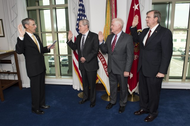 Acting Secretary of the Army, Robert M. Speer selected (l to r) John T. Hargrove to represent Georgia (West); John W. Moulton, Illinois (South); and Gratton O'Neal Sealock II, Washington (East) as new Civilian Aides to the Secretary of the Army (CASA).