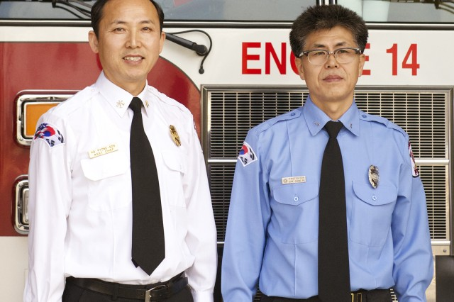 Ko, Pyong-son (left) was named Best Civilian Fire Officer and Choe, Chong-pil the Best Firefighter in the Installation Management Command Pacific Region recently.