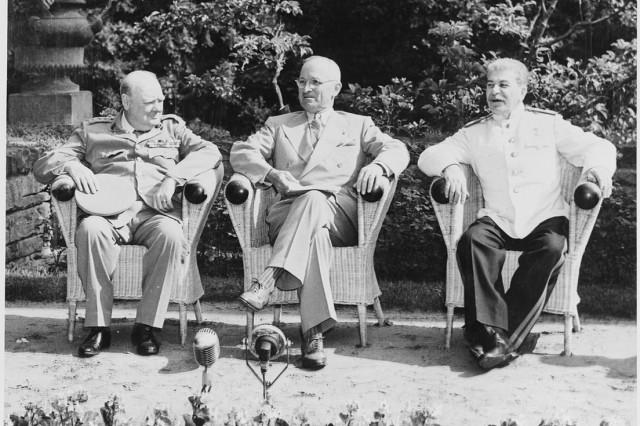 "Final Meeting of the ""Big Three"" at Potsdam, 1945. L to R: Churchill, Truman and Stalin"