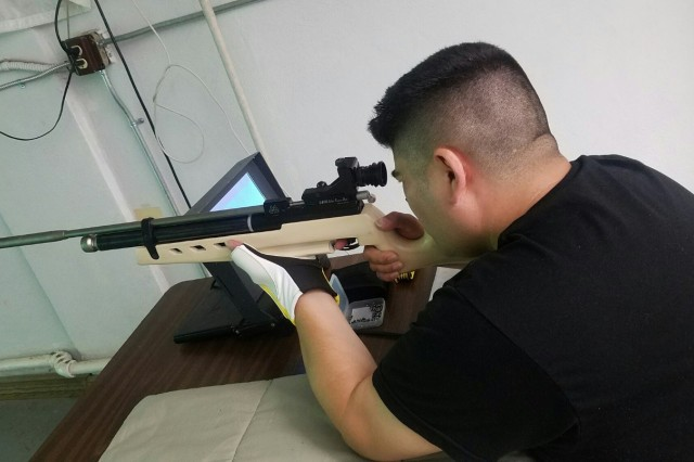 Staff Sgt. Marcus Manchaca takes aim during rifle practice. Manchaca is one of several athletes competing at Army Trials for a chance to represent Team Army at the 2017 DOD Warrior Games set for June 30 through July 8 in Chicago