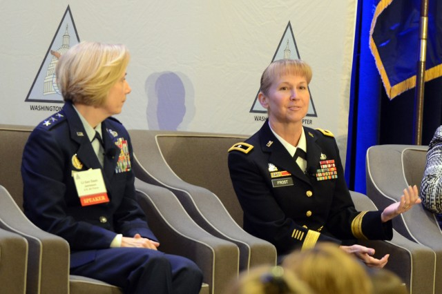 "Air Force Lt. Gen. VeraLinn ""Dash"" Jamieson, deputy chief of staff for Intelligence, Surveillance and Reconnaissance (left); and, Brig. Gen. Patricia Frost, director, Cyber, Army G-3/5/7, were among the participants in AFCEA Washington, D.C.-sponsored ""Women in DOD: Agents of Change,"" March 22, 2017, held in Arlington, Va."