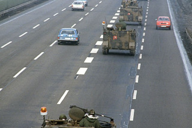 In this REFORGER photo, more than 400 M113 armored personnel carriers' convoy to training using the German autobahn in 1985.