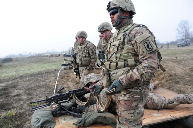 Paratroopers from 54th Brigade Engineer Battalion, 173rd Airborne Brigade, conduct a qualification range in December with a M240B machine gun during Exercise Castle Warfare at Foce Reno Training Area in Ravenna, Italy. Research efforts, led by PM MAS and ARDEC and supported in part by funding from ManTech, are looking at new manufacturing processes for producing lighter ammunition for the M240 that still meets the weapon's performance requirements. (U.S. Army photo by Elena Baladelli, Training Support Activity Europe)