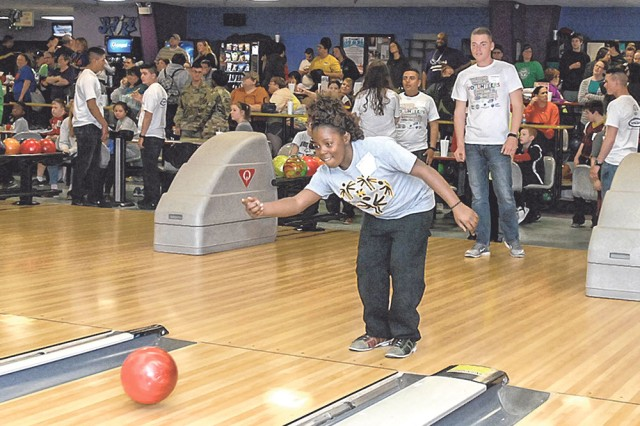 Keitononna Spriggs, from Kennett, Mo., bowls on Lane 2 at DBC Friday morning during the first day of the Special Olympics Missouri 2017 State Indoor Games.