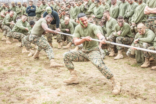 The final event in the Marine Corps Detachment Engineer Equipment Instruction Company Engineer Day was the tug-of-war. This year, the event helped the Engineer Equipment Chief team solidify their first-ever victory in the games.
