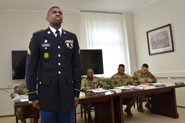 Sgt. Darion M. Oliver of U.S. Army Garrison Benelux participates in the board on Day 1 of the 2017 Installation Management Command - Europe Best Warrior Competition at USAG Ansbach, Germany, March 20, 2017.