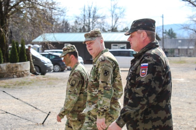 POSTOJNA, Slovenia -- Maj. Gen. Duane Gamble, Commanding General of the 21st Theater Support Command, Brig. Gen. Milan Zurman, Commander of the Slovenian Army Logistics Brigade, and Lt. Col. Brian Ketz, Commander of the 16th Special Troops Battalion met to observe training during Vanguard Proof. The 16th Special Troops Battalion (STB) deployed its forces forward to conduct a battalion-level exercise including a convoy live fire exercise (CLFX), explosive ordnance disposal (EOD) and aerial resupply here, March 19.  (U.S. Army Photo by 1st Lt. Mark Schneider, 16th Sustainment Brigade Public Affairs Office)