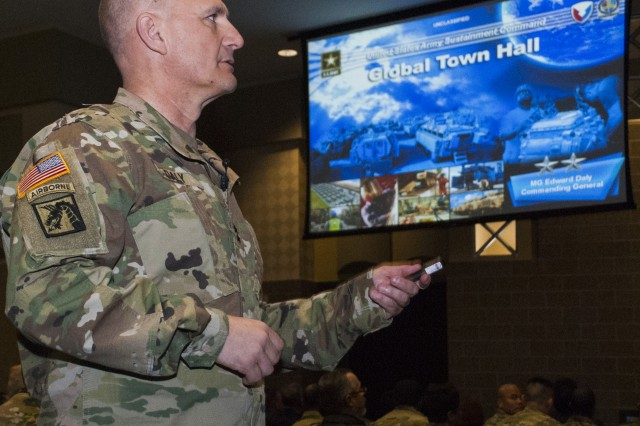 Maj. Gen. Edward Daly, commanding general, Army Sustainment Command, conducts the ASC Global Town Hall, Bettendorf, Iowa, March 22.