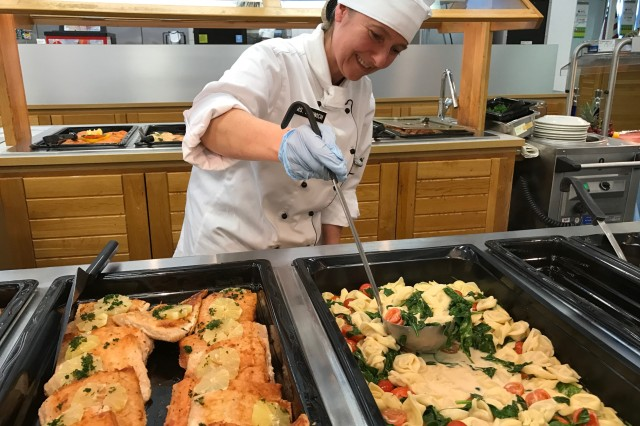 Chef Andrea Erdwich prepares the tortenlini entrée for serving on evaluation day. Erdwich is part of the 42-member team of food service specialists and staff at the Command Sgt. Maj. Lawrence T. Hickey Dining Facility in Grafenwoehr, evaluated in competition for the 2017 U.S. Army Philip A. Connelly Award.