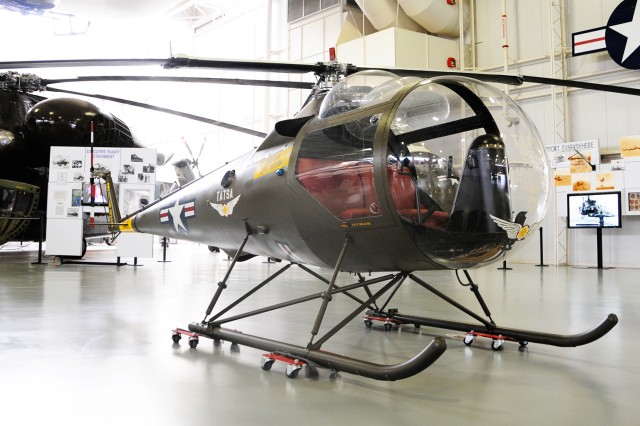 The Brantly B-2/YHO-3B takes its place in the U.S. Army Aviation Museum after a six-month restoration March 10.